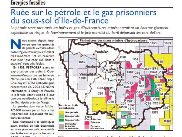 Gaz de schiste Ile de France 2011