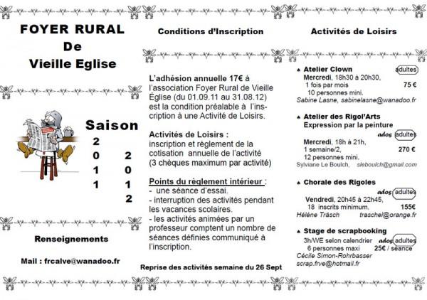 2011/2012, Foyer rural de Vieille-Eglise